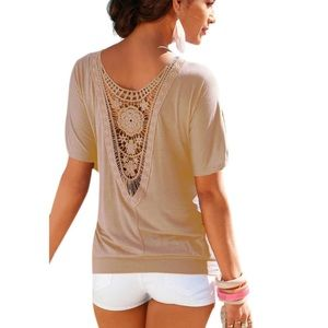 Tops - 🌷 Blush Nude Lace Back Top