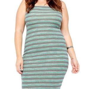 Teal strapless Bodycon dress