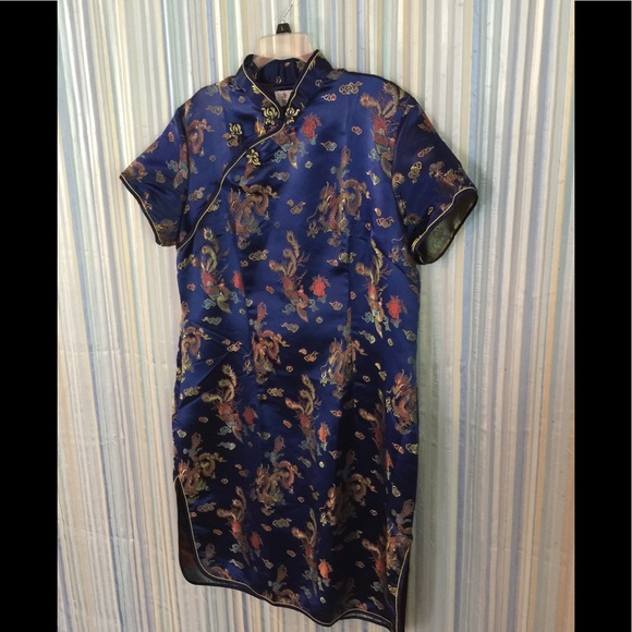Plus Size Blue Chinese Dress