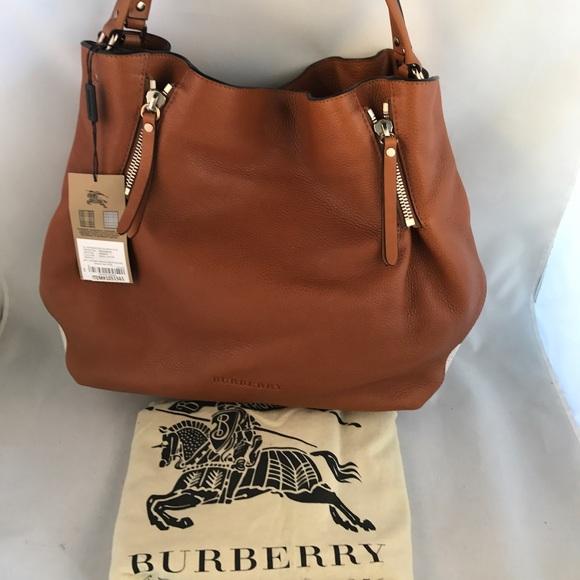 💯BURBERRY Brit Leather Check Maidstone Tote 9ff4ea8735cae