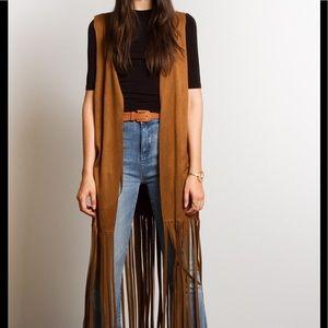 Jackets & Blazers - Boho Ethnic Tribal Long Fringed Vest Jacket