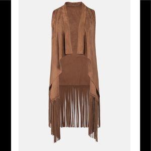 Jackets & Coats - Vegan Leather Midi Fringed Vest Western Boho Chic