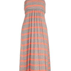 Orange Tube Stripped Maxi Dress