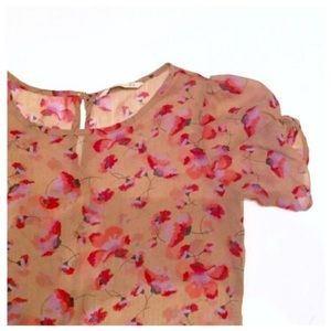 Super Adorable Sheer Floral Girly Top, Small