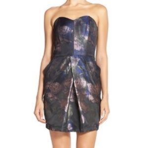 Adelyn Rae Floral Metallic Strapless Dress