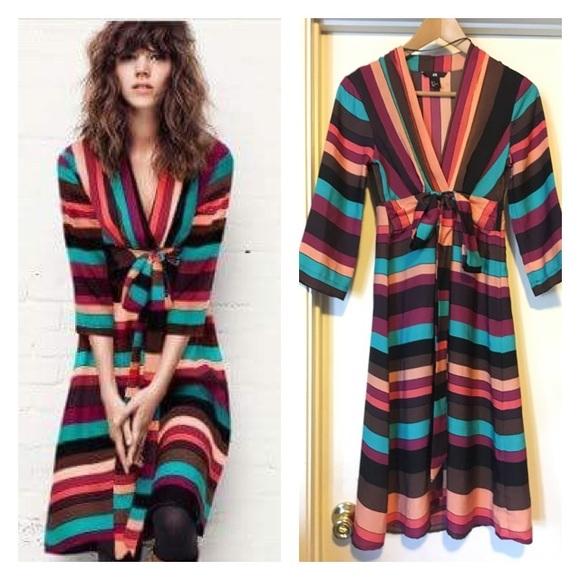 H M Dresses Hm Striped Midi Dress Poshmark