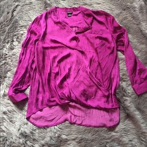 Torrid Hot Purple Satin Surplus Top 3X