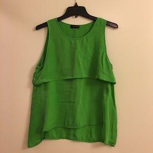 LOVE TOKEN 100% Silk Green Tiered Tank Top