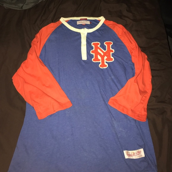 separation shoes c9985 65094 New York Mets Henley shirt Mitchell & Ness sz L