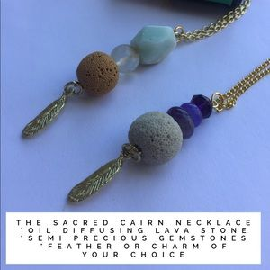 Aromatherapy diffusing necklace lava and gems