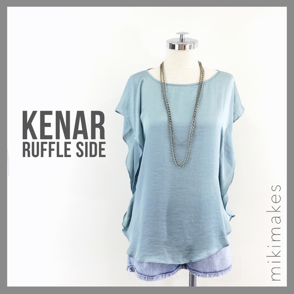Kenar Tops - 🆕 KENAR • sea green teal ruffle side blouse