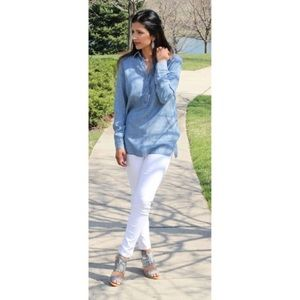 J. Jill Denim Tunic Top Shirt Medium Blue Long slv