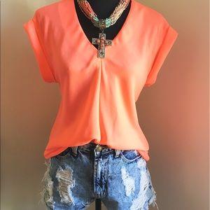 Tops - Neon Coral Pink Chiffon Top