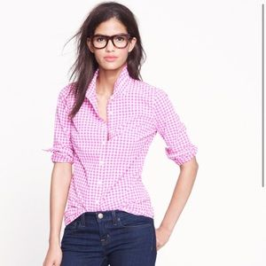 J. Crew Factory Perfect Shirt Pink Gingham XS