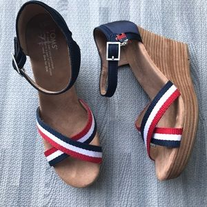 TOMS wedge sandals, red, white & blue, NEW! Cute