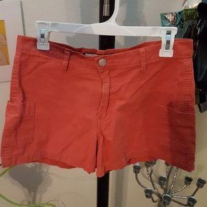 Burnt orange shorts with cargo pockets