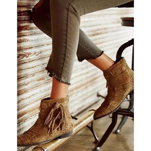 Free People distress suede Decades Ankle Boots