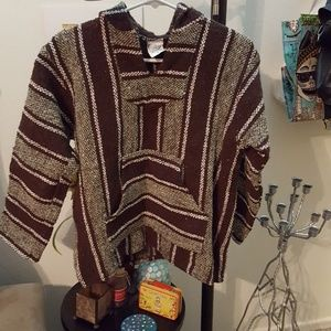 NWOT Sage green and brown hooded poncho