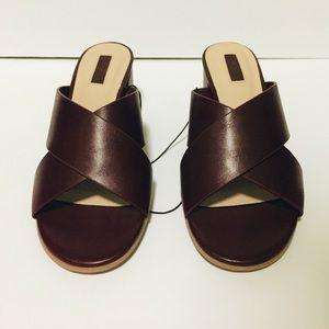 Forever 21 Shoes - Forever 21 Burgundy Faux Leather Crisscross Sandal