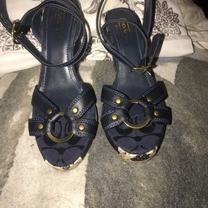 Used, Coach Kallista patchwork wedges for sale