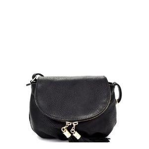 Handbags - Black Tassel Accent Cross Body Purse