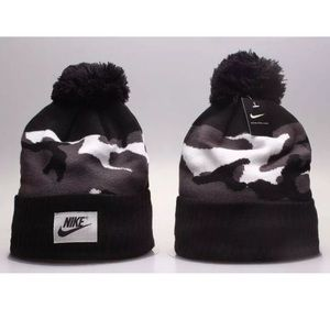 6dfd21220 NIKE Black Gray Camo Unisex Cuff Winter Pom Beanie NWT