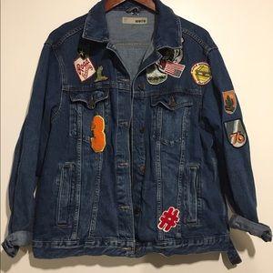 topshop patched denim jacket