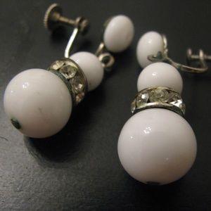 Antique milk glass screw back earrings