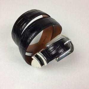 Onyx by Brighton silver tone black embossed belt