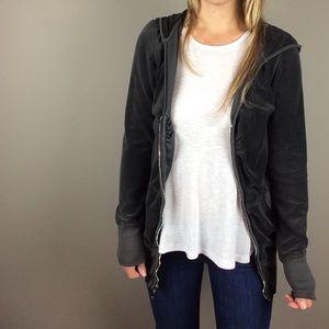 Juicy Couture Gray V Neck zip velour jacket