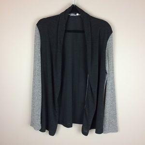 Black and gray lightweight open front cardigan