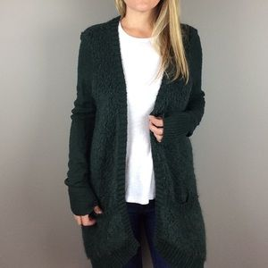 Sleeping On Snow Boucle open front green cardigan
