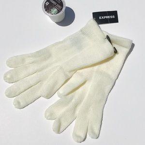 EXPRESS 100% Acrylic O/S winter ❄️ white gloves