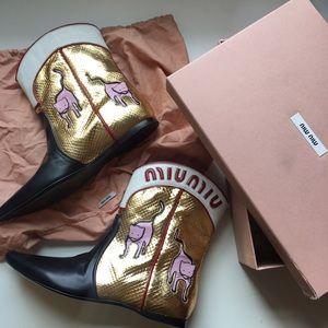 c6662ac7411c Miu Miu Shoes - NIB Miu Miu Metallic Cat Cowboy Boots