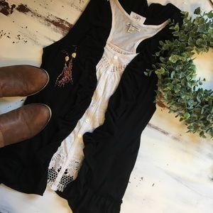 Loft, Med Black Cotton Vest with Ruffle Details