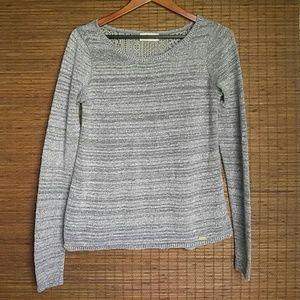 Hollister Sparkle Grey Crochet Sweater Size Medium