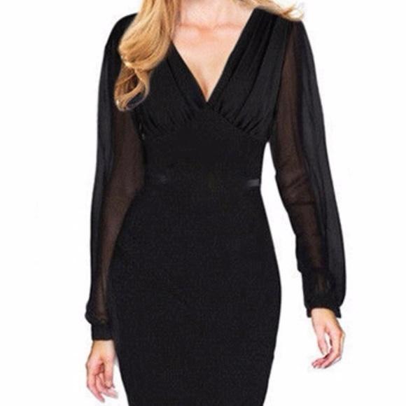 4a2f1fcc1065d black dress sheer long sleeve size Medium   Large