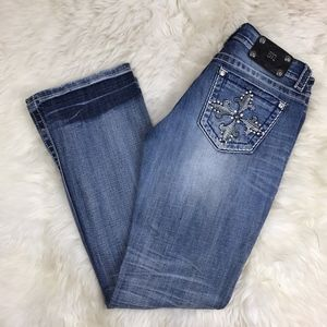 Miss Me Blue Studded Rhinestone Easy Bootcut Jeans