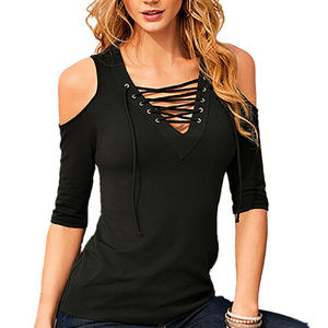 Tops - Cold Shoulder Lace Up Womens Casual Top