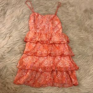 Aeropostale orange ruffle tank dress