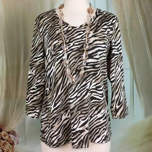 Karen Scott Animal Print Long Sleeved Top