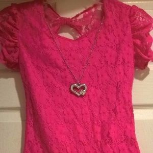 2 Heart Tween Hot Pink Lace Top with Necklace
