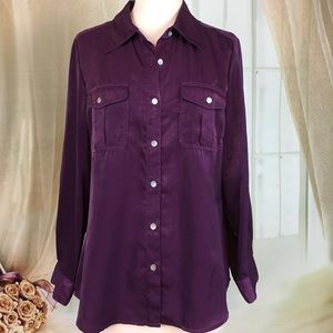 Ruby Rd. Purple Button Down Blouse