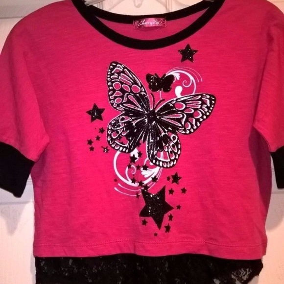 Cherry Stix Other - Cherry Stix Pink Black Graphic Lace Top
