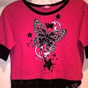 Cherry Stix Pink Black Graphic Lace Top