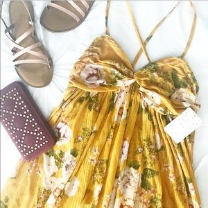 NWT Free People Yellow Mirage Floral Top