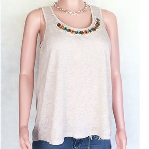 Beige dressy tank top by Chenault