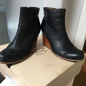 Korkease 'Michelle' Black Leather Wedge Boots