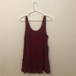 Tops - low back maroon tiered tank