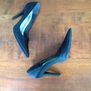 Stuart Weitzman satin pointy toe high heel shoes